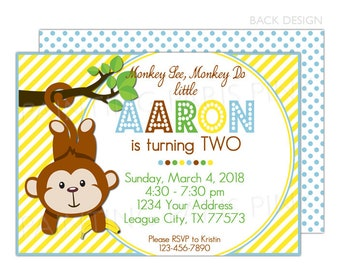 Moneky Birthday Party Invitation | Printable OR Professionally Printed | 5x7
