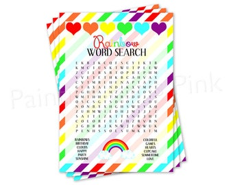 Word Search Game Printable | Birthday Party Game | Rainbows U0026 Hearts |  Instant Download