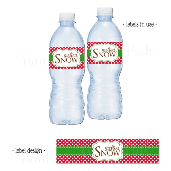 Melted Snow Water Bottle Labels Printable Instant Download Etsy