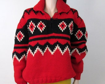 Vintage SOUTHWEST Sweater Boho Jacket Boho Sweater 70s Jacket Tribal Navajo Hippie Sweater Tribal Sweater Slouchy Sweater Oversized G2