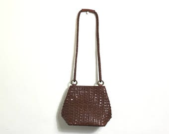Vintage 90's Brown Leather Purse Woven Vintage Leather Purse  80's Leather Handbag Brown Long Shoulder Strap 80's Dillards Boho Hippie F