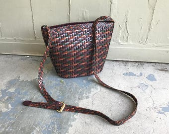 Vintage 90's Purse Woven Leather Purse Woven Purse 80's Purse Leather Purse Leather Handbag Brown Long Shoulder Strap Across The Body Boho N