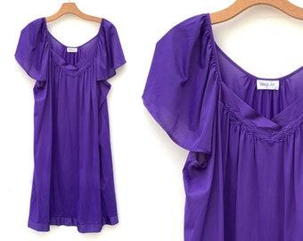 Vintage Nightie Vanity Fair Purple Nightgown Lingerie Large XL - 07 c9385c4ad