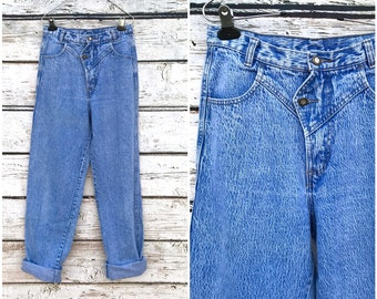 cd8f25eed11 Vintage 80 s HIGH WAISTED Jeans Acid Washed Jeans Vintage High Waist Jeans  Small Medium 80s Jeans 80 s Revival 80 s Clothing E