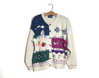 658b0c9b2ee2 Vintage 80 s Sweater Vintage Cardigan Boho Sweater 80 s Christmas Sweater  Novelty Sweater Ski Sweater Preppy Sweater Button Up Sweater F