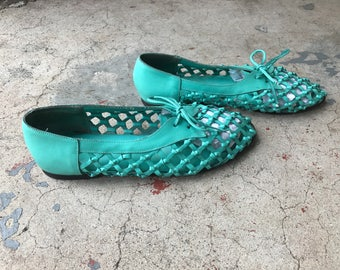 00c3086a0e6f ... Vintage 80s Huaraches Leather Hippie Sandals Strappy 9 Woven Silp Ons  Green Turquoise Teal 90s K ...