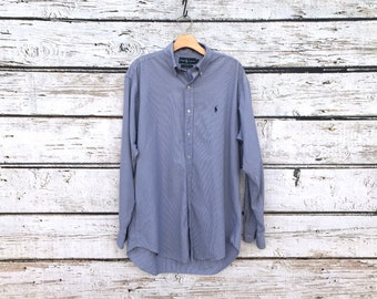 1234c13ca08c9e Vintage 90 s RALPH LAUREN Shirt Blake Oxford Button UP 90 s Shirt 80s Shirt  Blue and White Ginham Blue Horse E