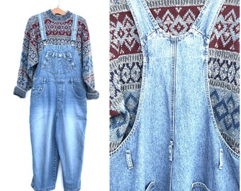 8ba582be3b6 Vintage 80 s Overalls Large Denim Cropped Wide Leg Pants Oversized Slouchy  90 s Overalls Cotton Medium Large - 06