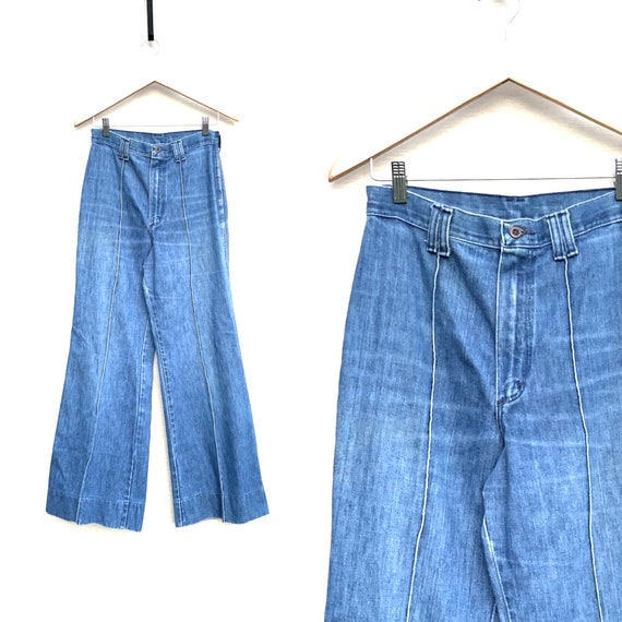 Vintage 1970s Jeans Wide Leg High Waist Denim Hipp