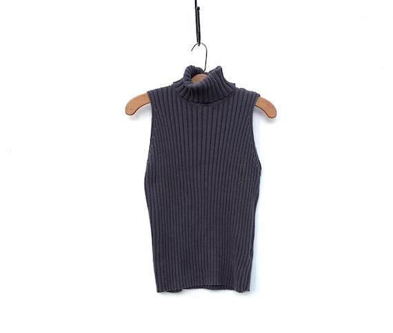 Vintage 90s Sweater Sleeveless Turtleneck Dark Gra