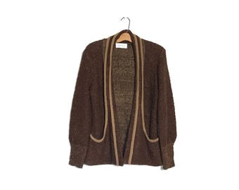 Vintage 80's Sweater Slouchy Sweater Small Brown Boho 80's Cardigan Small Hippie Sweater S Minimalist Oversized Sweater Curly Knit Sweater A
