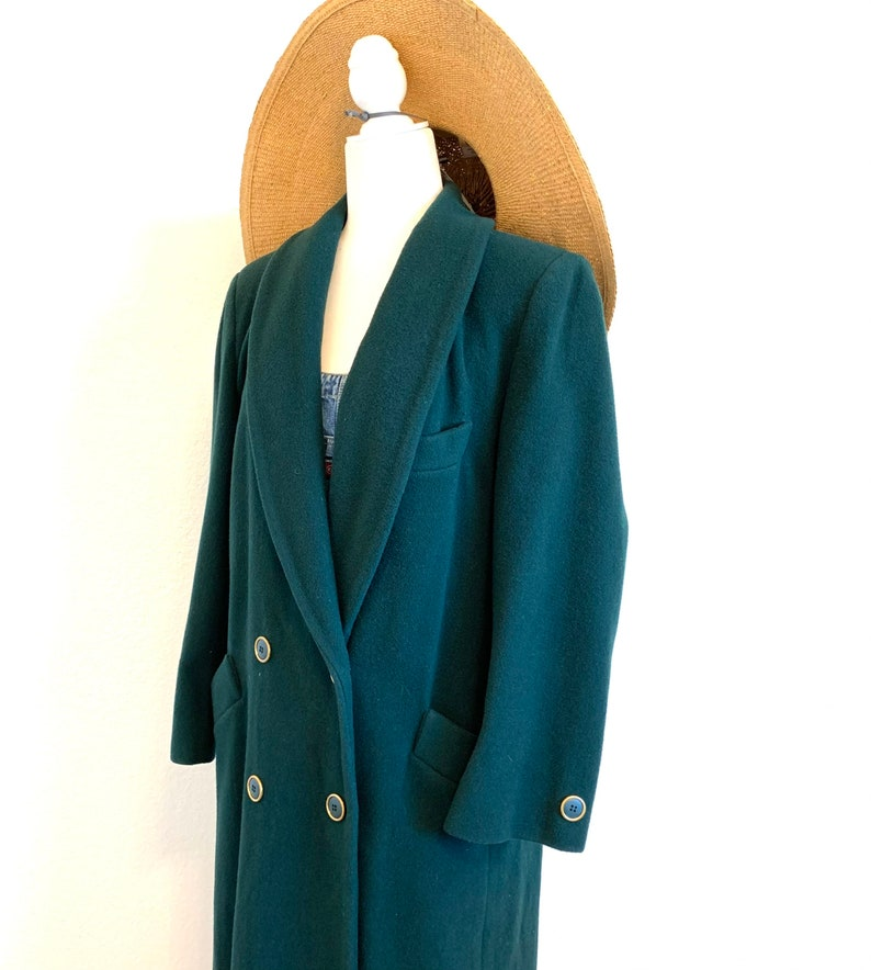 Vintage 80s 90s Wool Coat Dark Forest Green Long Trench Spy Jacket 10