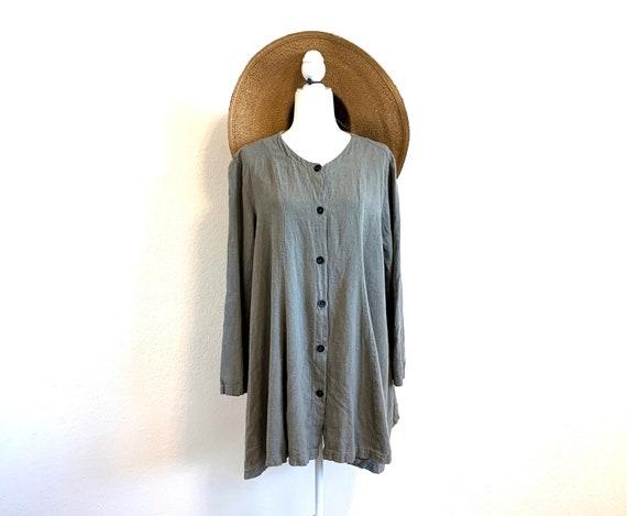 Vintage Linen Shirt - Dress Sage Green Blouse Mini