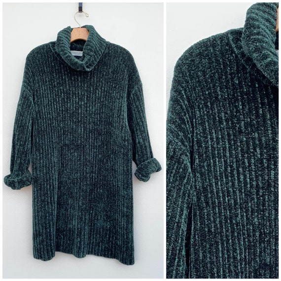 7003f6dc3 Vintage 90 s Sweater XL Green Chenille Sweater 80 s