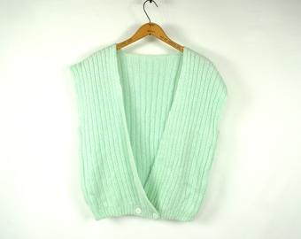 Vintage Sweater Vest Large 80's Sweater XL 70's Sweater Slouchy Sweater Sleeveless Sweater Vintage Mint Green Sweater Preppy Sweater Vest H1