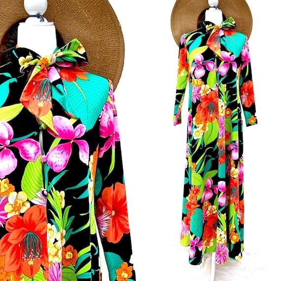 Vintage Waltah Clarke Hawaiian Dress Long Maxi Sty