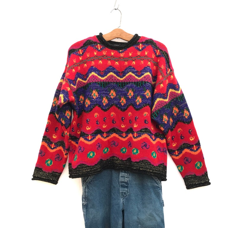 7acb25f5c1d Vintage anni 80 strisce colorate Paisly anni 90 Maglia Vintage maglione  Slouchy oversize Hipster di maglione - Z