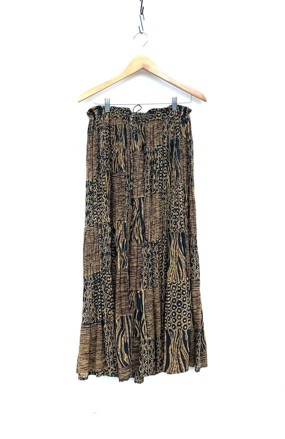 Indian skirt yellow black striped polka dot print crinkled summer skirt Boho Hippie Chic Small S M