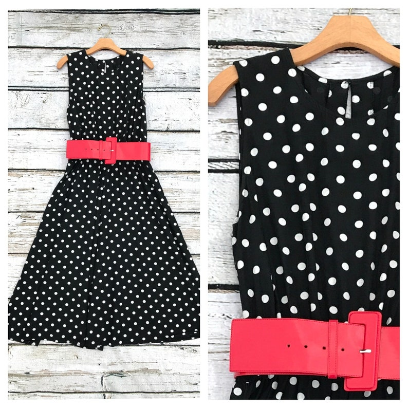 Vintage 80's Black and White Polka Dot Dress