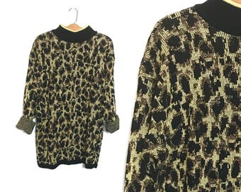 Vintage 80's Sweater Slouchy Sweater Oversized Sweater Metallic Leopard Print Sweater Animal Print Knit Medium 80's Mini Dress Micro Mini N