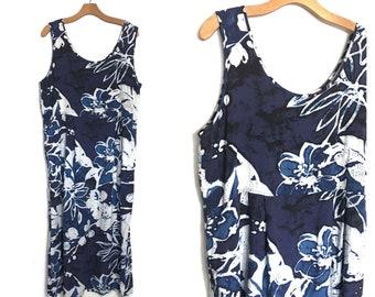 Vintage 90s Dress Revial Festival Dress Summer Boho Dress Batik Flowers Floral Hawaiian Hippie 80s Maxi Dress Blue Sundress Tank K