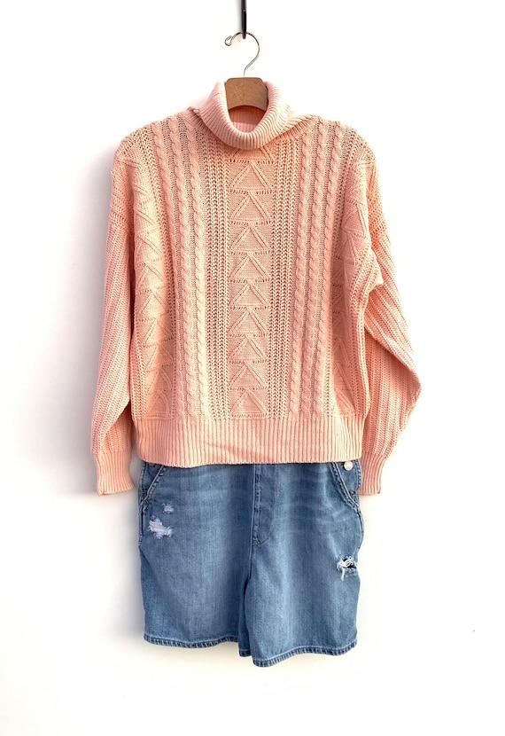 Vintage 80\u0027s Sweater Cropped 90\u0027s Sweater Slouchy Ski Triangle Turtleneck  Boho Preppy Sweater Button Up Back Pink Peach , 03