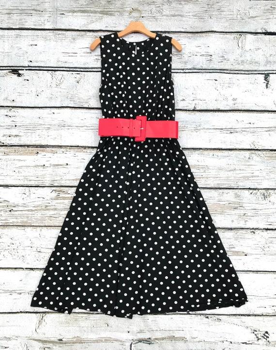 Vintage 80's Black and White Polka Dot Dress
