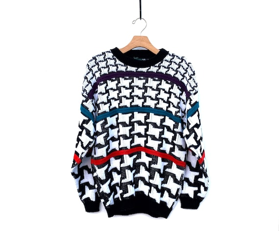 Vintage 80/'s 90/'s metallic houndstooth knit sweater