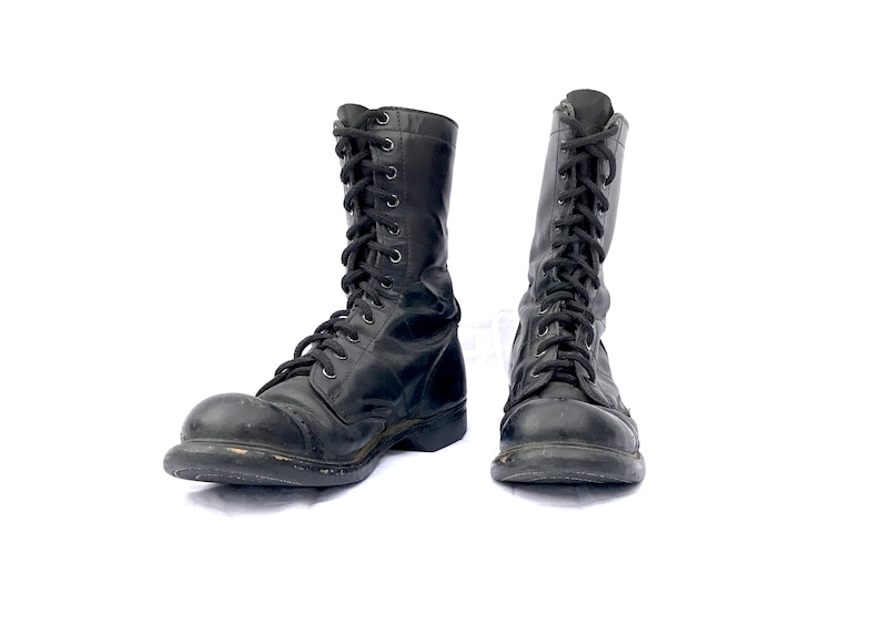 c690bd0dfbb0e Vintage Leather Boots Black Lace Up Combat Boots Double H Jump Boots Mens  Size 7 Womens size 9 Punk Grunge Boots Toe Cap Military 60s - 90s