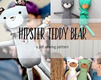 Hipster Teddy Bear- PDF Sewing Pattern for a Softie Teddy Bear