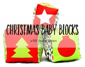 Christmas Baby Blocks - PDF Sewing Pattern for a Soft Toys