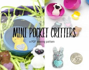 Mini Pocket Critters- PDF Sewing Pattern for Felt Softies