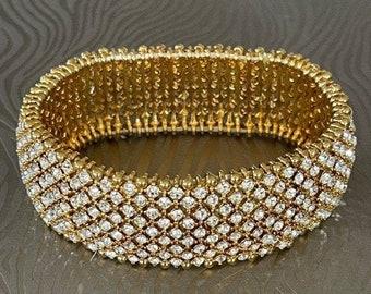 Elegant Gold and Swarovski Rhinestone Stretch Cuff Bracelet