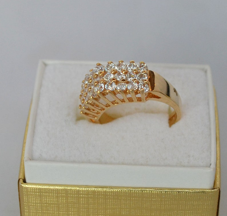Gold Wash Ring with Triple Row Faux Diamonds SZ 6 14 Magnificent Design Detail