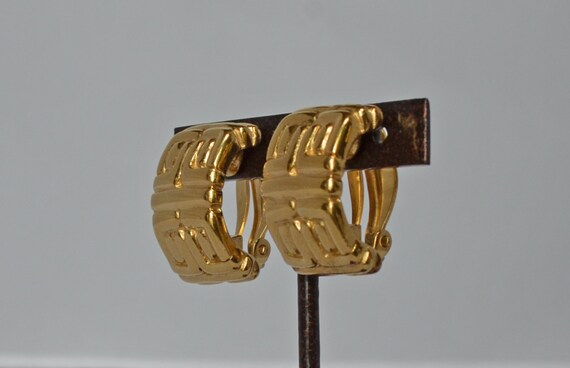 1960's Vintage GIVENCHY 18k GP Logo Clip Earrings… - image 3