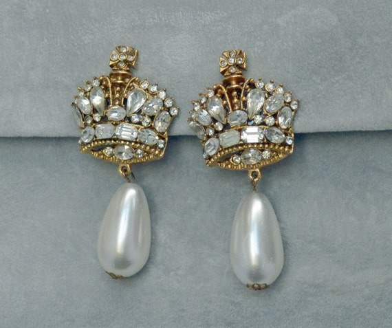 Showstopper Bridal SERBIN Earrings Crowns Rhinesto