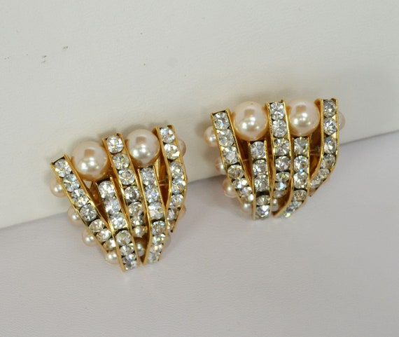 Vintage Faux Pearl and Rhinestone Earrings Wedding