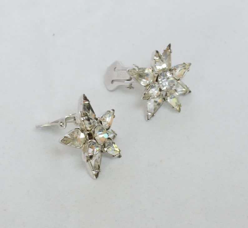 Radiant Vintage WEISS Double Tiered Star Crystal Earrings 1950s Signed Clips