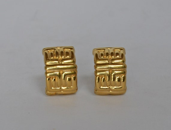 1960's Vintage GIVENCHY 18k GP Logo Clip Earrings… - image 4