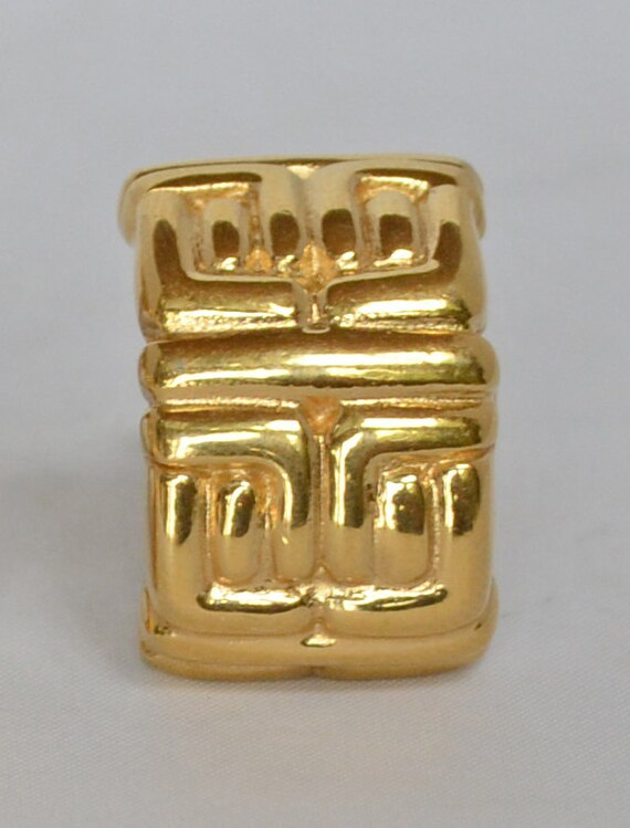 1960's Vintage GIVENCHY 18k GP Logo Clip Earrings… - image 2