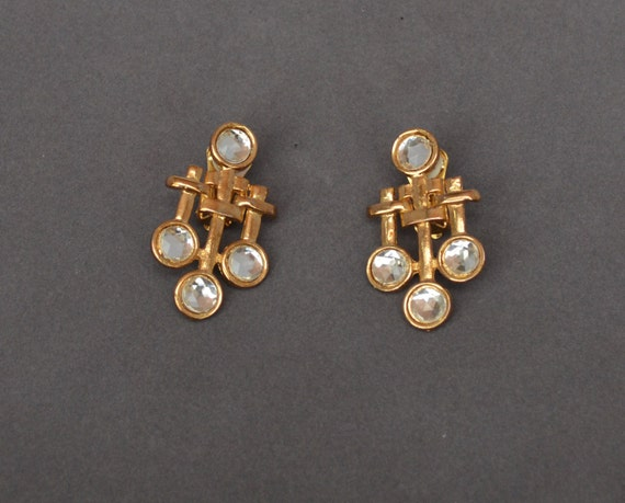 Vintage ART NOUVEAU Earrings Gold  Rhinestone Clip