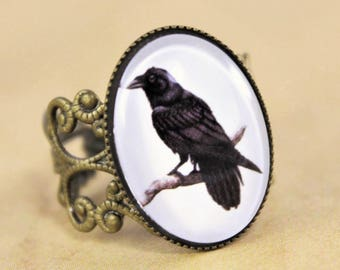 Raven Ring, Steampunk Ring, Crow Ring, Bird Ring, Vintage Ring, Victorian Ring, Filigree Ring, Black and White Ring, Gothic ring, Goth Ring