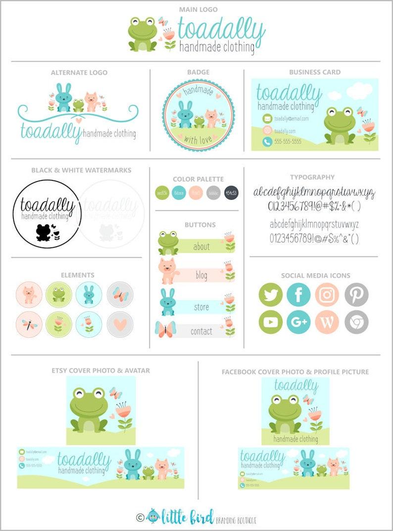 Logo Branding Package Frog Animals Facebook Etsy Shop Website Business Card Social Media Toadally Handmade Clothing Branding Package