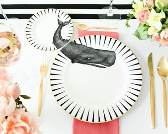 Monochrome Whale of a Time plate set
