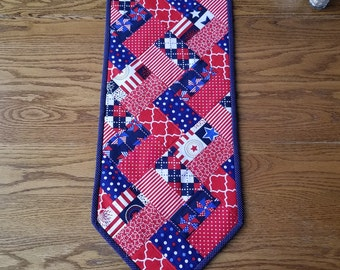 Red White and Blue Patriotic Table Runner