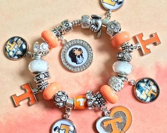 f340c060b Authentic 925 PANDORA Bracelet with European Charms Tennessee Volunteers  Vols Theme