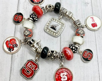 a7efb07fc Authentic 925 PANDORA Bracelet with European Charms NC STATE Wolfpack