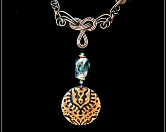 Copper Wirewrapped & Embossed Pendant With Lampwork Bead