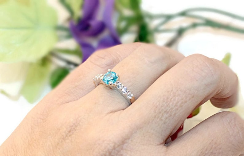 Engagement Ring Ring With Side Stones Blue Diamond Ring Anniversary Ring