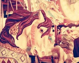 Carnival print, carousel, merry-go-round, nursery decor, circus print, soft pastels, shabby chic, vintage circus
